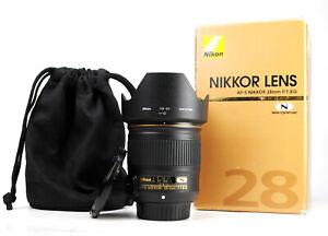Nikon AF-S Nikkor 28mm F1.8 G Prime Lens - Boxed - Both Caps & Hood, Bag - EXC