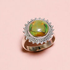 925 Sterling Silver Ring Sz US 8.5, Green Copper Turquoise Gemstone 4.7 gm Gift