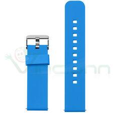 Cinturino silicone 22mm Blu bracciale fascia polso fibbia per Pebble Time PHS4