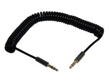 Coiled Audio Aux Lead For iPod iPhone Samsung 1M - 3.5mm Jack Plug To Plug Male