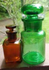 Two Nice Apothecary Bottles With Original Ground Stoppers Emerald Green & Amber