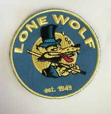 "LONE WOLF Vintage Embroidered Iron On  PATCH Rat Rod , Hot Rod, Racing 3"" x 3"""
