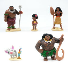 6 Pcs Moana Figure Cake Topper PVC Play Toy Maui Chief Tui the Rooster