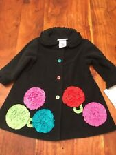 NWT Bonnie Baby Girls Size 18 Months Fleece Black Embellished Dress Coat (CE)