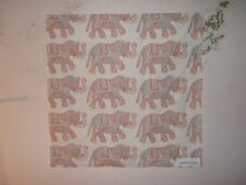 "Robert Allen ""Circus Fun"" elephants, fabric remnant for crafts color red earth"
