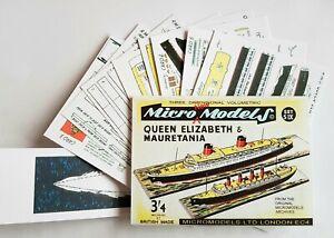 Micromodels Set S IX RMS Queen Elizabeth &  Mauretania Micro New Models card kit