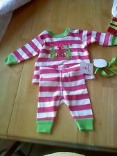 mudpie Triple Tree Pink Striped Long Johns 2T-3T NEW!