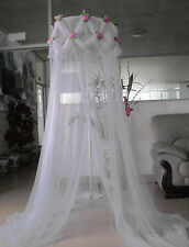 WHITE ROSE EMBELLISHED PRINCESS BED CANOPY MOSQUITO NET FREE SHIPPING FROM USA