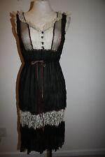 HAZEL Brand ANTHROPOLOGIE Lace Dress NWT S Small 4 6 Black Cream Bronze
