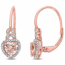 Amour 10k Rose Gold Morganite and Diamond Accent Heart Halo Leverback Earrings