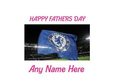 Happy Fathers Chelsea Flag Flying A4 Personalised EASY PEEL PRECUT Icing Sheet