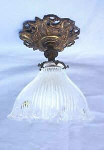 French Ceiling Light Holophane Glass Shade Brass Mount Chandelier Late 19th C