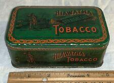 ANTIQUE HIAWATHA TOBACCO TIN LITHO CAN NATIVE AMERICAN INDIAN RARE GREEN VERSION