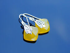 Yellow Chalcedony Natural Gemstone 925 Sterling Silver Earrings Healing Stone