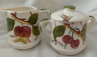Vintage Made In Japan Creamer And Sugar Bowl Set With Cherry And Apple Design