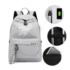 USB School Backpack Backpack Fashion Letters Night Luminous