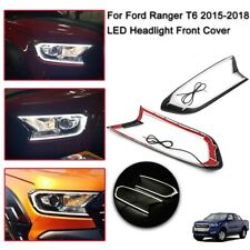 2x LED Front Head Lights Cover Trim For Ford Ranger T6 MK2 PX Wildtrak 2015-2018