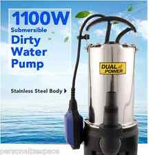 Brand New 1100W Submersible Dirty Water Pump Garden Stainless Steel 10m Cable