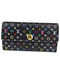 Auth LOUIS VUITTON Sarah Long Bifold Wallet Monogram Multi Black M93747 61MA935