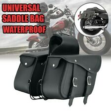 Motorcycle Side Pouch Leather Saddlebags Saddle 2 Bags Panniers Black 757