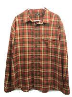 Royal Robbins Button Up Shirt Mens XL Red Brown Plaid Long Sleeve Polyester Euc