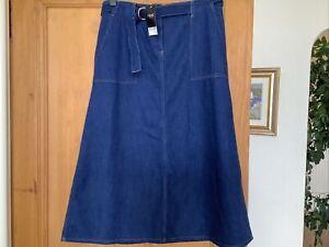 Lovely long Next Denim Skirt Size 16 Tall BNWT With Belt