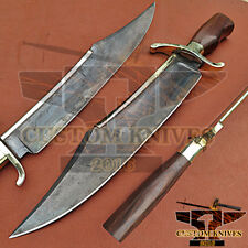 CUSTOM HAND MADE 5160 SPRING STEEL AGED ALAMO MUSSO BOWIE KNIFE-ROSE WOOD HANDLE
