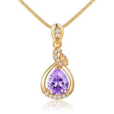 Pear Amethyst 18K Yellow Gold Filled Pendant Women Lady Wedding Party Necklace