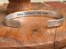 Hope anchors the soul - Inside Secret Message Hand Stamped Cuff Stacking Bracele