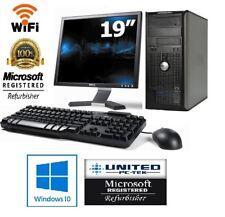 Dell OptiPlex Computer Core 2 Duo 2.9 4GB 250GB HDD Windows 10 Pro With 19