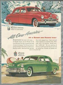 1947 FRAZER & KAISER advertisement, Kaiser-Frazer sedans, summer & winter
