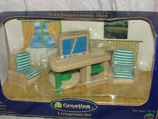 1998 Creative Playhouse Doll House Miniature Furniture Wood Mint In Box Tv