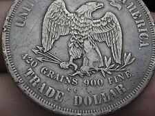 1873 CC Silver Trade Dollar- Rare Carson City, Fine/VF Details