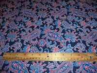 PAISLEY PRINT FABRIC * 6+ YARDS IN STOCK - BY THE YD * BLUE RED