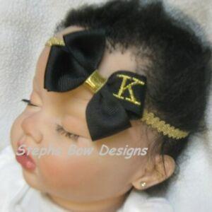 Black w/ Gold Monogram Dainty Hair Bow Headband Personalized Preemie to Toddler