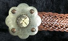 Vintage Moroccan for Chico's Leather Belt with Silver over Copper, Bone Buckle