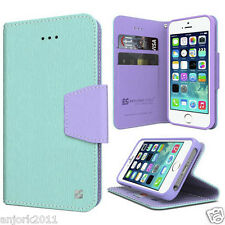 IPHONE 5 5S SE Wallet Cover Pouch w/Magnetic Flap+Card Slots Case Mint Purple