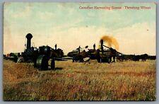 Postcard Canada c1906 Canadian Harvesting Scenes Threshing Wheat Farm Machinery