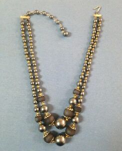 STAMPED JAPAN - DOUBLE STRAND PRE-LOVED NECKLACE IN BLACK & SILVER BEADS