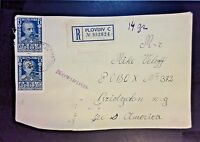 Bulgaria 1920s Registered Cover to USA (Front Only) - Z1088