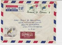 the gambia 1970 birds air mail stamps cover ref 20518