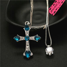 Betsey Johnson Women Charm Crystal CZ Blue Cross Double Pendant Chain Necklace