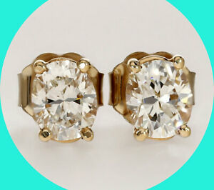 1.10CT diamond stud earrings 14K YG large oval brilliant studs