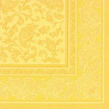 """50 gelbe Premium Servietten ROYAL 1/4-Falz 40 cm """"Ornaments"""" Party FSC®"""