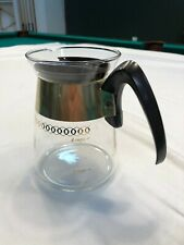 Vintage Corning Glass 4 Cup Coffee Carafe w/ Atomic Starburst on Lid, Gold gilt
