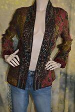 BOHO burgandy TAPESTRY coat jacket blazer S Draper and Damons BOHEMIAN GOLD