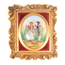 """Antique Victorian Hand Painted Porcelain Framed Brooch Pin 2.90"""""""