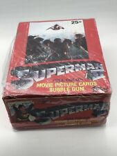 VINTAGE 1980 SUPERMAN II TOPPS FULL COUNTER BOX 36 WAX PACKS BUBBLE GUM SEALED