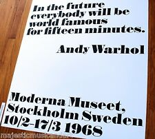 """ANDY WARHOL """"FAMOUS FOR FIFTEEN MINUTES"""" OFFICIAL SWEDEN GALLERY POSTER HUGE EX+"""
