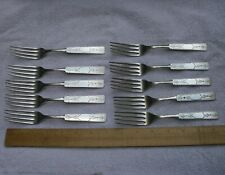 Set 10 Rare SQUARE END ENGRAVED Coin Silver LUNCHEON FORKS-Poss. Jos. Seymour